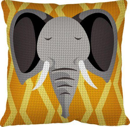 Kit coussin gros trous à broder - Éléphant