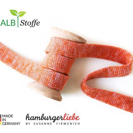 Cordon plat tricoté au mètre - Orange mélangé