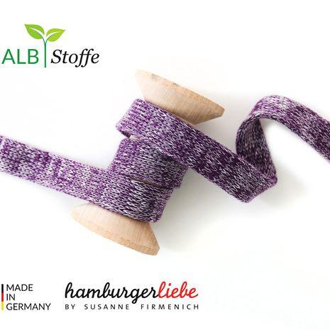 Cordon plat tricoté au mètre - Violet mélangé