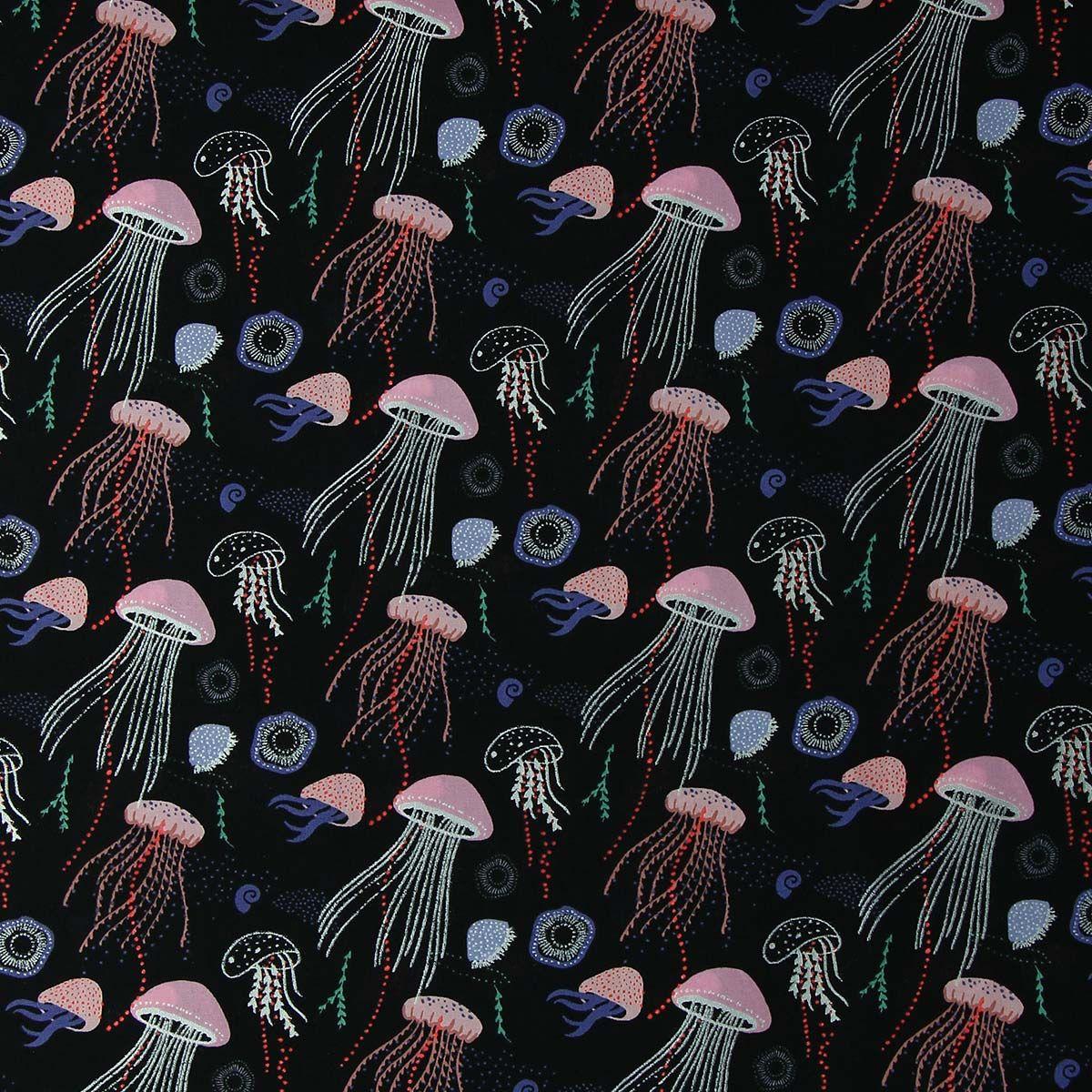 Tissu popeline de coton lurex méduses - Rico Design