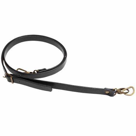 Sangle bandoulière de sac simili noir avec mousqueton bronze - 1,8 cm x 138 cm