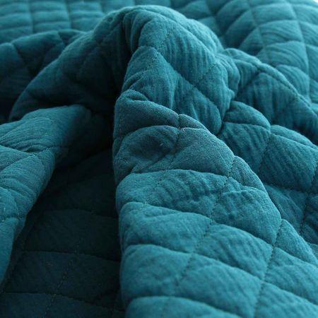 Tissu double gaze de coton matelassé - Paon